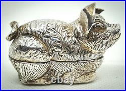 Antique novelty Chinese silver piggy pill box circa 1900