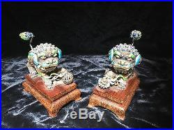 Antique pair chinese sterling silver enamel foo dogs 4.5 x 3.5 fitted box PERF