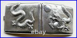Antique silver Chinese cigarette cases and box