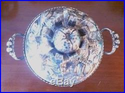 Antique silver chinese covered dish with pomegranate design 7 1/2 high 8 long