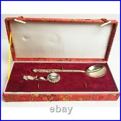 Antique silver wnk dragon spoon chopstick rest set in chinese embroidered box