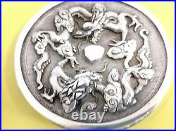 Argent Massif Chine Boite Dragon Chinese Export Silver Box With Dragon