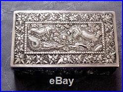 Argent Massif Chine Chinese Export Silver Box Dragon 272 G