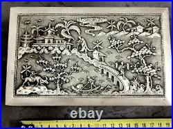 Argent Massif Indochine Chine Du Sud Grande Boite Chinese Export Silver Box