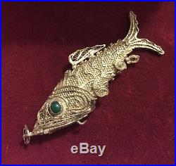 Articulated Filigree Silver Turquoise Eyes Chinese Export Fish Pill Box Pendant