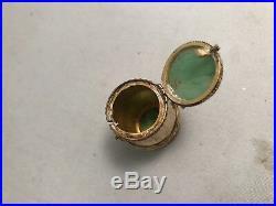Asian vintage Jade Chinese Silver Locket Pendant Vinaigrette Spice Box