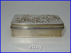 Attractive Chinese Hallmarked Solid Silver Oblong Trinket Box