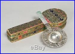Beautiful Antique Chinese Carved Jade Sterling Silver Tea Strainer With Box