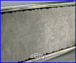 BEAUTIFUL RARE SOLID SILVER CHINESE GAMING TOKEN TOPPED SNUFF BOX c1950