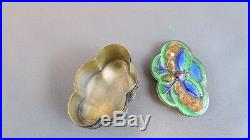 BUTTERFLY CHERRY BLOSSOMS Chinese 925 Silver Cloisonne Enamel SNUFF Pill Box