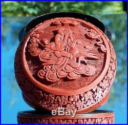 Beautiful Antique 19th Century Carved Chinese Cinnabar Lacquer Box & Cover