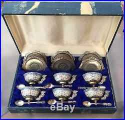 Beautiful Boxed Set of 6 Chinese Silver and Porcelain Cups & Saucers