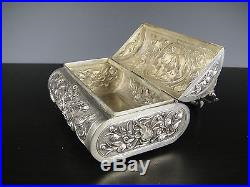 Beautiful Chinese Solid Silver Jewelry Box With Bird&Fish. 19th C. Marked
