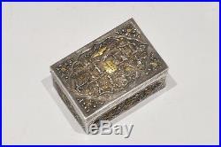 C. 1850 247 Grams Chinese Export Silver And Gold Box Canton Shanghai Hong Kong