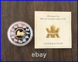 CANADA 1998-2009 $15 DOLLAR CHINESE LUNAR SILVER & Gold (12 COINS), Coa & Boxes
