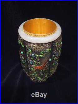 Chinese Antique Vintage Jade Enamel Solid Silver Jeweled Tea Caddy Box