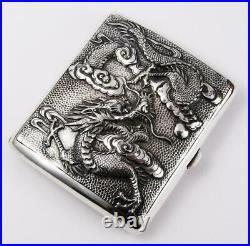 CHINESE DRAGON SILVER CIGARETTE CASE c1900 WANG HING Stunning