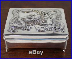 Chinese Export. 900 Silver Box Repousse Dragon Signed Wang Hing