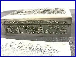 CHINESE EXPORT SILVER BOX 19th ARGENT MASSIF CHINE BOITE COFFRET A CLé XIX 240g