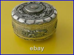 CHINESE EXPORT SILVER BOX DRAGON ARGENT MASSIF CHINE BELLE BOITE DECOR DRAGON l8