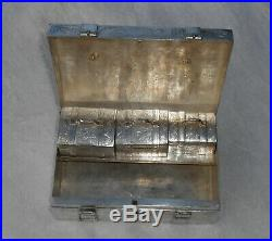 CHINESE EXPORT STERLING SIGNED SILVER SET OF 4 BOXES HAND ENGRAVED 1213 grams
