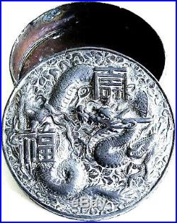 CHINESE REPOUSSE RELIEF DRAGONS TRINKET BOX ANTIQUE 3.5 in WIDE