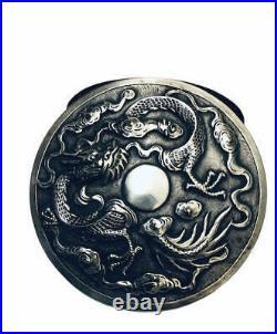 CHINESE SILVER BOX Circa 1920 by KL/KAM LUNG GAN LONG