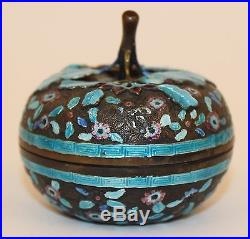 Chinese Silver Enamel Figural Pumpkin Trinket/snuff Box No Reserve