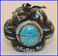 Chinese Silver Enamel Figural Ribbed Melon/gourd Trinket/snuff Box No Reserve