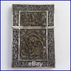 Chinese Silver Filigree Card Case Decorated With Chilong Dragons, 19th Century