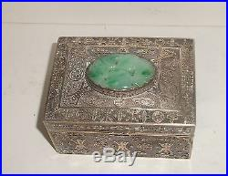 Chinese Silver Filigree Carved White & Apple Green Jade Humidor Box