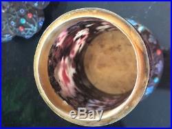 CHINESE SILVER Filigree CLOISONNE ENAMEL GEMSTONES CANISTER TEA CADDY JAR BOX