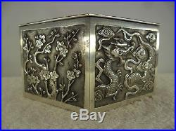 CHINESE Solid Silver DRAGON Table Trinket Box by Wing Chun c1900