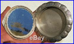 CINA (China) Old Chinese repousse silver powder compact with dragon