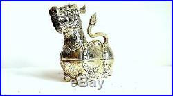 Cambodia Khmer Silver King Lion statue box