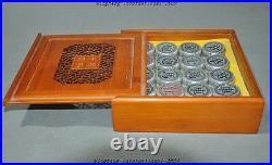 China Boxwood Box Tibetan Silver Mind Board Game Chinese Chess 32 Xiangqi Set