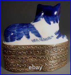 China Chinese Copper Silvered Box with Blue & White Porcelain Cat Insert ca 20th c
