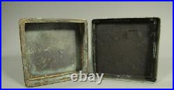China Chinese Silver Color Metal Box Inscribed Immortal & Crane 19-20th c