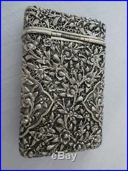 China box, Chinese cigarette case export solid silver with gold trim