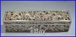 Chinese 900 Export Silver Cricket Box by Wing Chun Hong Kong late 19th Century