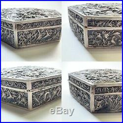 Chinese Antique Export Silver Box Wang Hing Co Highly Detailed