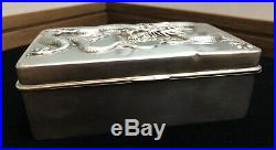 Chinese Antique Export Sterling Silver Ornate Dragon Humidor Box