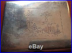 Chinese Antique Handmade Sterling Silver Cigar Box House Tree Relief Stamp Seal