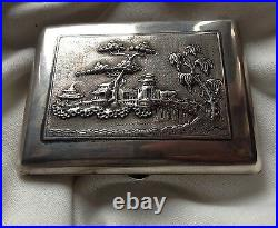Chinese Antique Handmade Sterling Solid Silver Cigarette Box Relief Stamp Seal