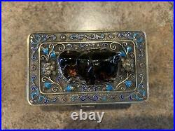 Chinese Antique Silver Enamel Cloisonne Box With Semi-precious Stone