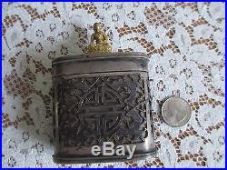 Chinese Antique Silver over Bone Snuff/Tobacco Box