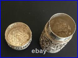 Chinese Antique Solid Silver Round Box