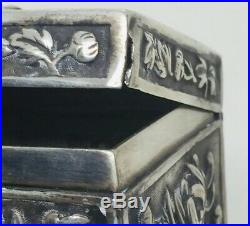 Chinese Antique Sterling Silver Chrysanthemum Floral Rectangular Box