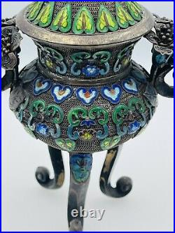 Chinese Antique Sterling Silver Filigree Enamel Floral Tall Lidded Box