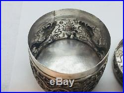 Chinese Antique Sterling Silver Ornate Dragon Box